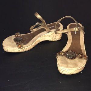 Xhilaration Bronze Beaded Wedge Sandals